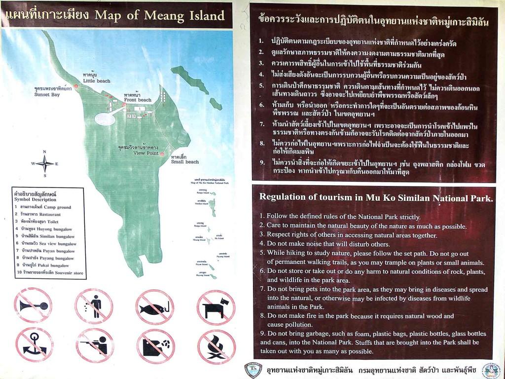 Karte der Miang Insel bei Similan Island